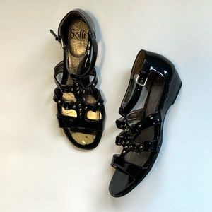 Sofft Black Patent Leather Studded Sandals 9M